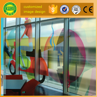12mm thick glass door toughened soundproof fire rated digital printed on glass decorative glass for exterior door