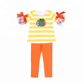 Stripe cushaw print girl's outfit half-sleeve ruffle girl's clothing set, accept modifying washing label only