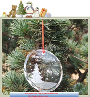 Clear Blank Crystal Glass Christmas Ornament With Customized Logo