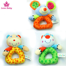 lovely baby plush stuffefd toys baby rattle toys with animal design LBT20160119-41