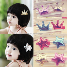 Lovely pu crown and star shape hair accessory kids hairpin