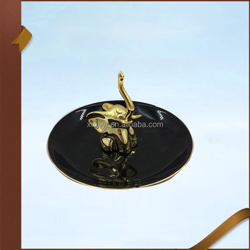 Electroplating Elephant Trinket Holder with Round Black Plate