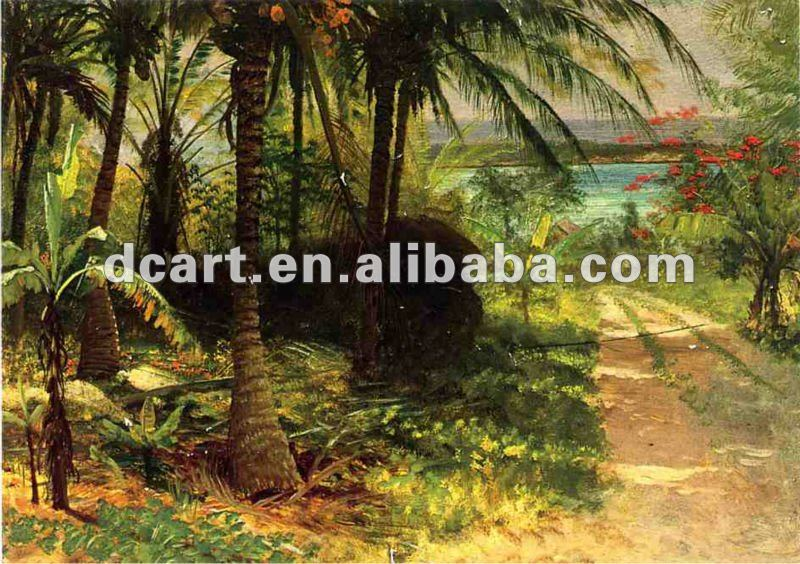 Natural scenery coconut tree art painting