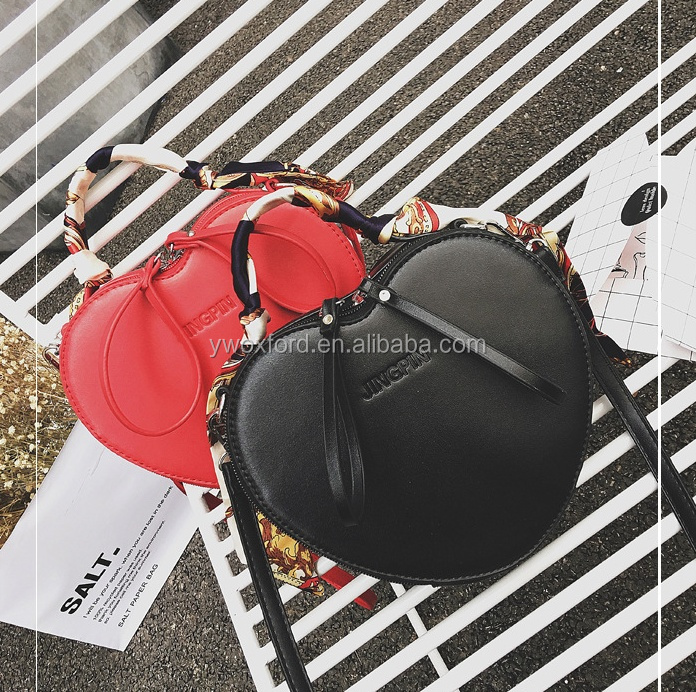 Cute Lovely Ladies PU Leather Fashion Handbags Red Heart Woman Handbags With Silk Scarf