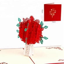 Paper Spiritz Laser Cut Red Rose Flower Pop Up <strong>Card</strong> Factory Wholesale