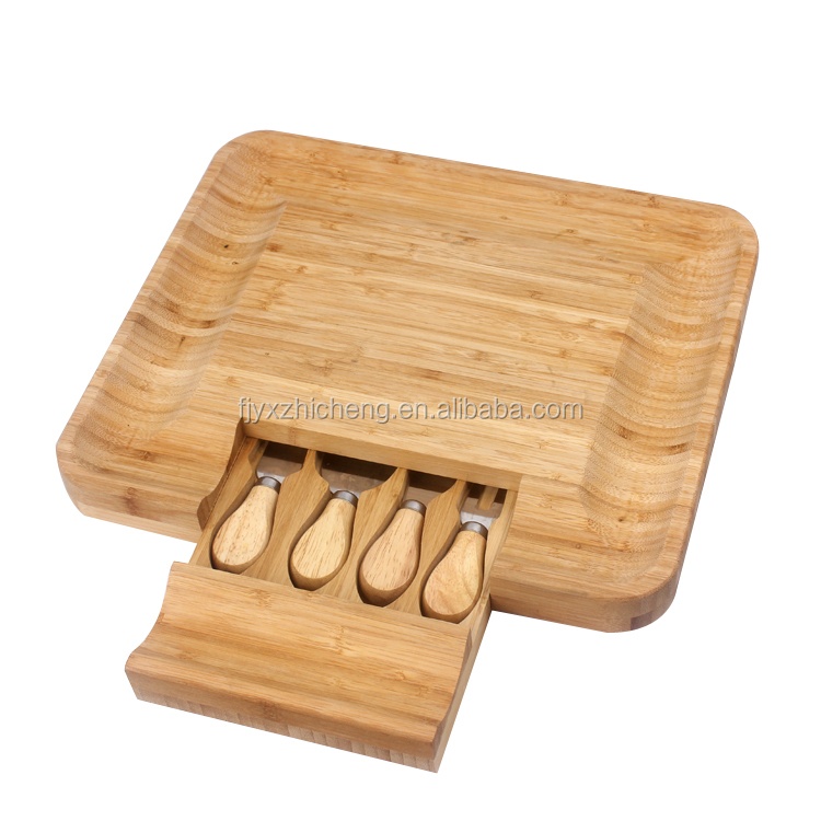 High quality bamboo cheese cutting board with 4 knives tools set wholesale bamboo cutting boards