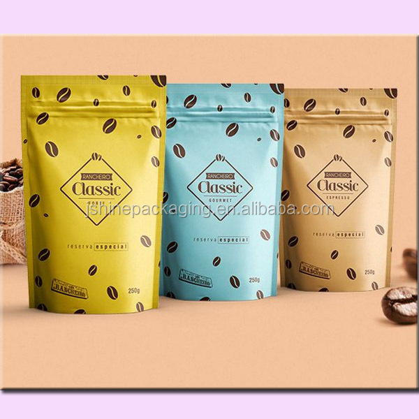 food grade stand up kraft paper bag coffee