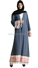 Women's Elegant Modest Muslim Islamic Block Color Full Length Lace Hem Abaya Dress