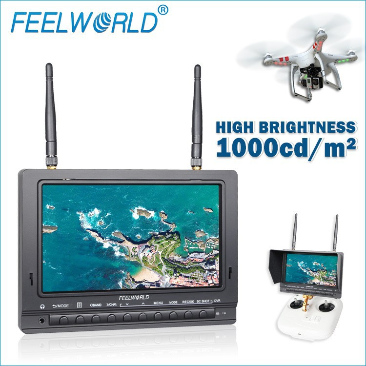 New Feelworld 7 inch antiglare matte screen DVR monitor high brightness 1000cd/m built-in <strong>battery</strong> 32G TF card rc airplane camera