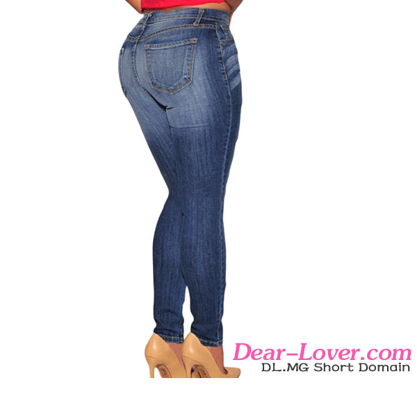 Wholesale Denim Pants Women Dark Blue Jeans