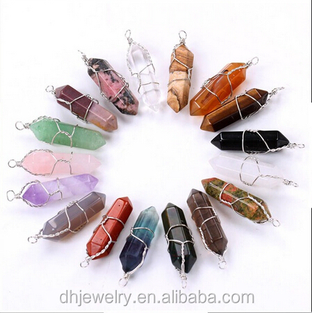 100% natural quartz crystal crystal point pendant