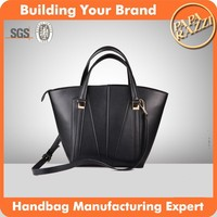 3648 Black Sturdy Shape PU Simple Modern Design Tote Bag Leather With a Long Shoulder Strap