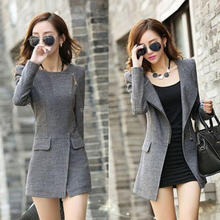 Women fashion coats 2015 korean fashion coats winter ladies plus sizes slim long wool trench coat grey wither woomen jacket