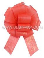 Decorative red pull ribbon bow for christmas