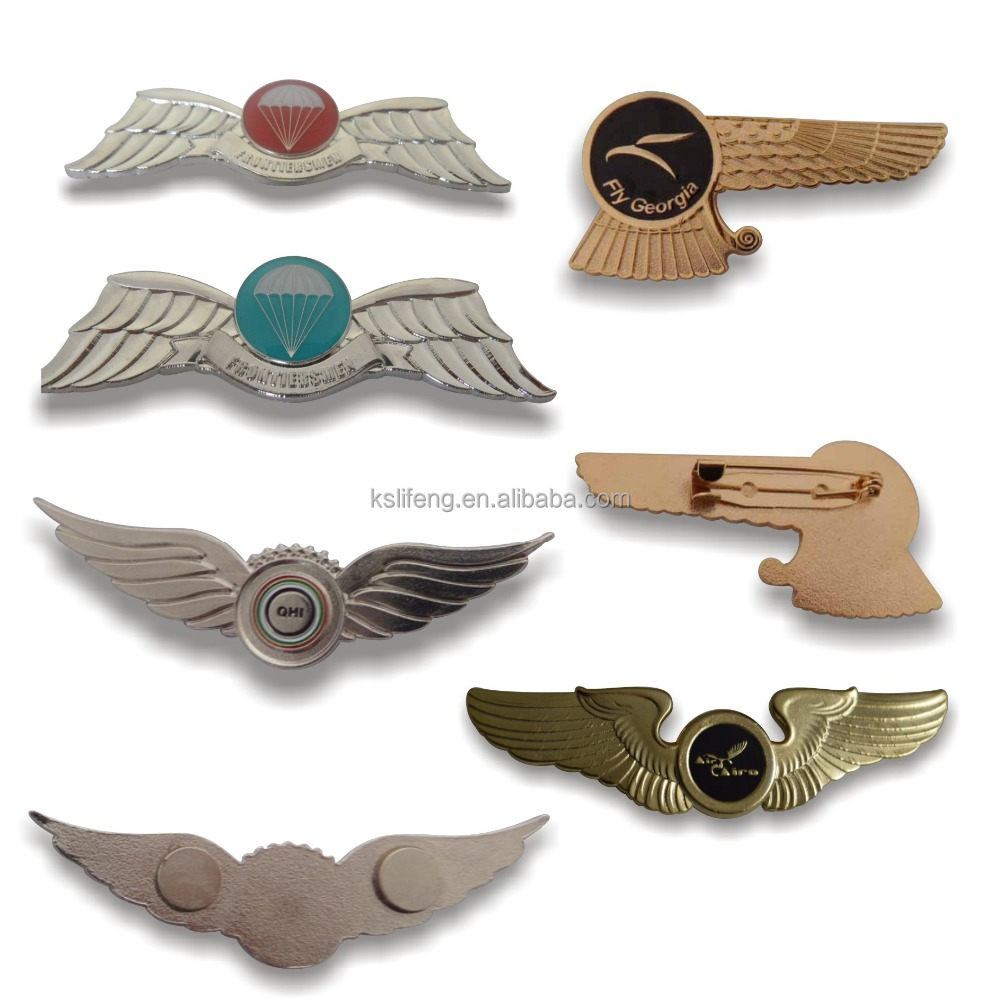 souvenir items custom metal pilot wings pin badge pilot wings