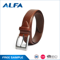 Alfa Quality Products Wholesale Classic Brown Man Genuine Leather Belt With Pin Buckle