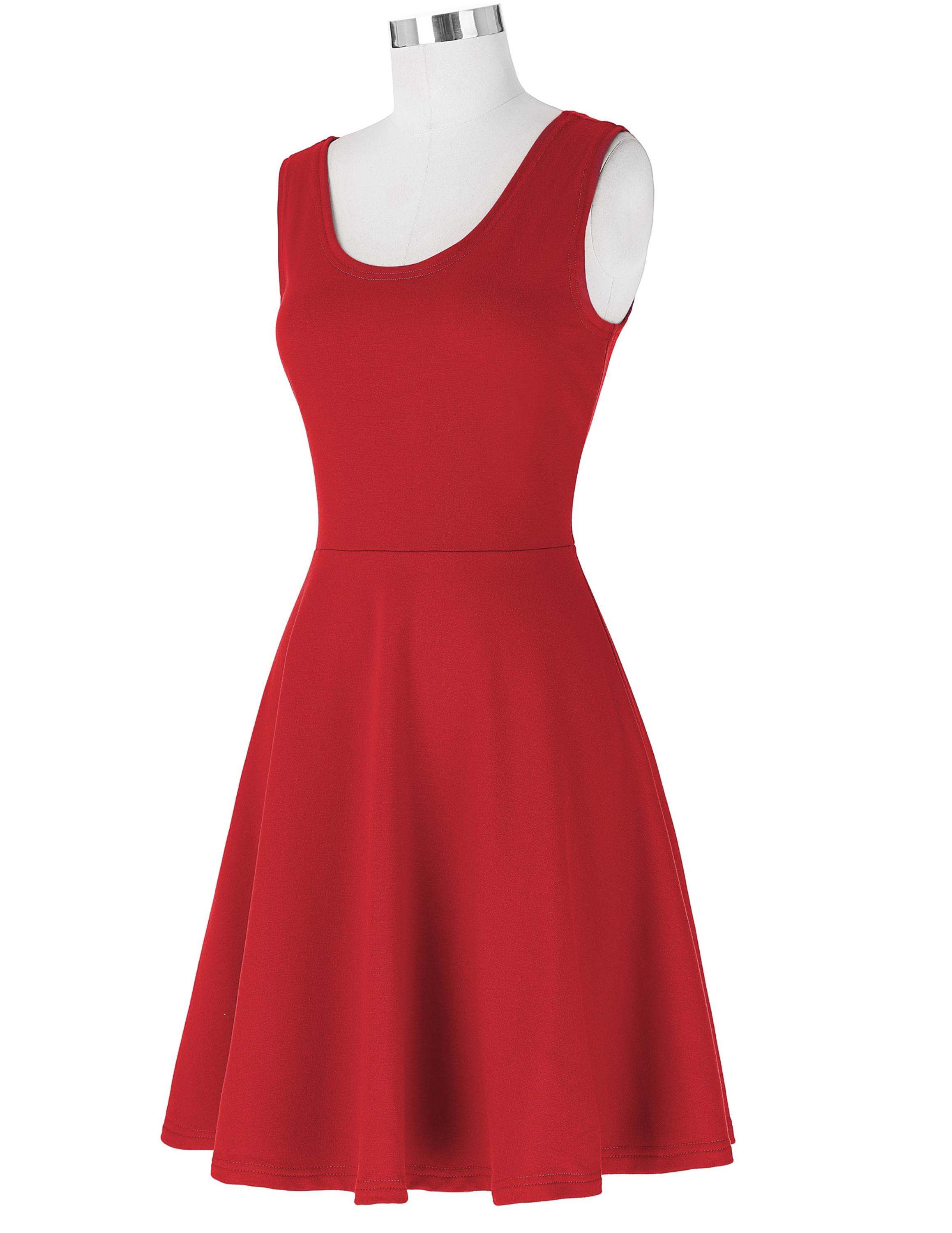 Kate Kasin Women's Stylish & Slim Fit Casual Sleeveless U-Neck Tank Red Summer Dress KK000487-2