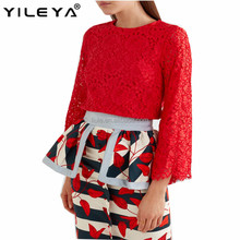 Latest spring design fashion red lace blouses for ladies elegent long sleeve women tops