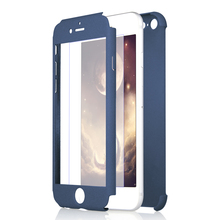 Newest design 360 degree full protective mobile phone pc case with free glass screen protector for iphone 7