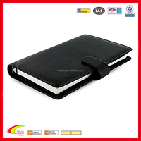 shenzhen leather products custom diary printing,diary with pen holder,6 ring binders with card holder