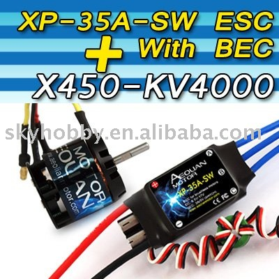 Aeolian X450KV4000 brushless RC motor + 35-SW ESC with ESC for 450 RC helicopter