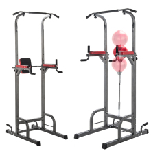 Deluxe Folding Exercise Equipment Strength Training Standing Pull Up Bar Power Tower Dip Station Chin Up Tower