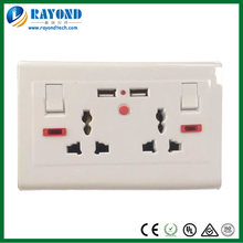Double 5V/2100mA USB Charging Multi-National Electrical Wall Socket with On/Off Switches and Neon