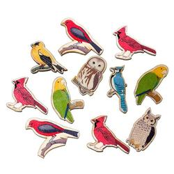 Wood Cabochons Scrapbooking Embellishments Findings Bird At Random 4.4cm x3.1cm - 3.1cm x2.8cm