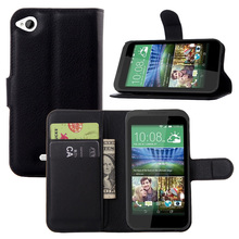 Litchi PU Card Holder Wallet Flip Leather Case For HTC Desire 320