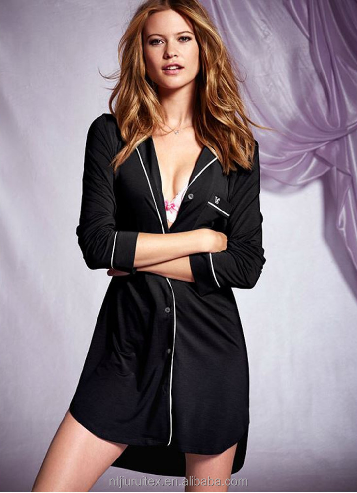 Wholesale Cozy Spring/Summer Piping Trim Deep V-neck Women Modal sexy Nightshirt