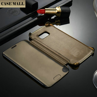 2015 Custom Luxury Golden Bumper +Mirror Back Makeup Case For Samsung S6 Edge