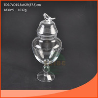 Glass candy storage jar with bird lid and long stemmed/wedding glass decoration jar