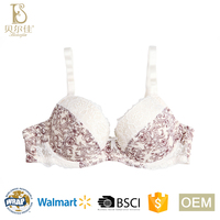 BEJ046-B full figure plus size ladies soft printed bra for women underwear lingerie with cut and sew foam cup