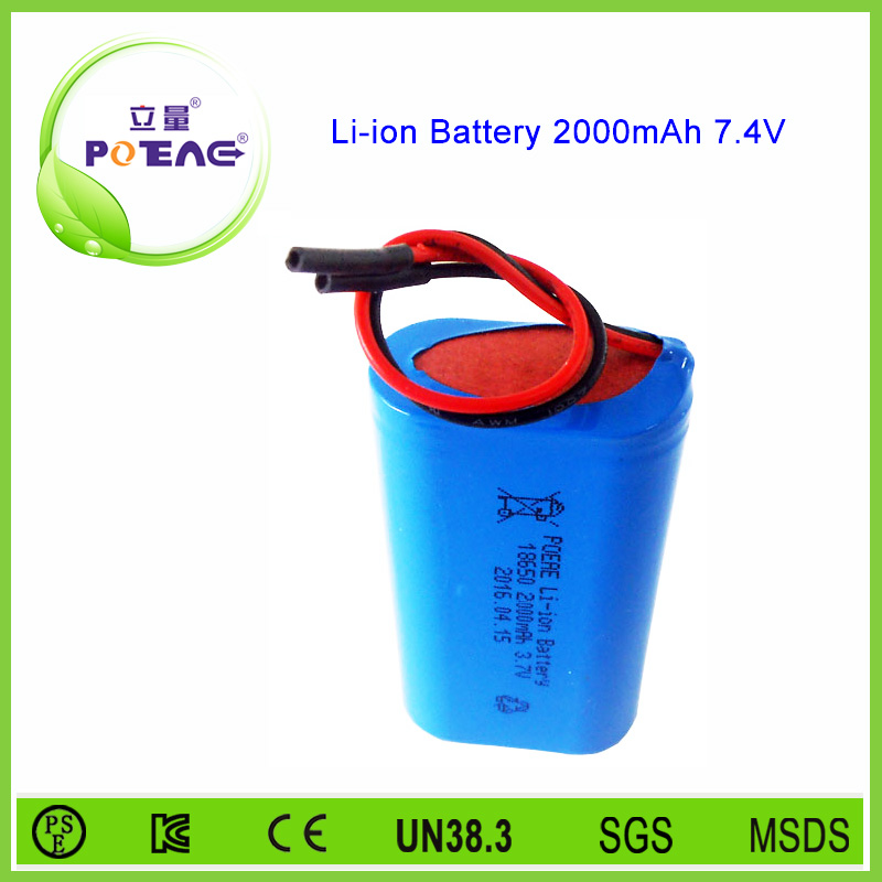 Liliang poeae 7.4v 2000mah lithium ion battery manufacturer