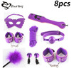 Leather Restraint Sexy Women Fetish Products 8pc Sex Bondage Sets