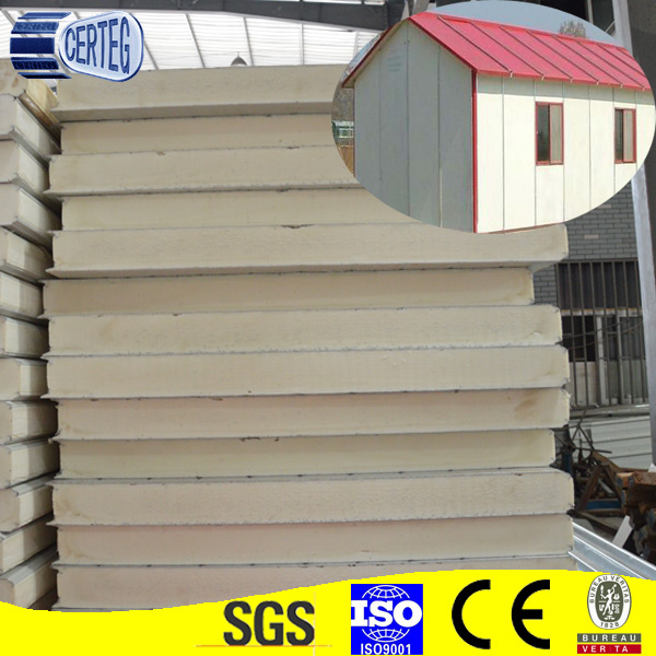 thermal insulation cold room using polyurethane sandwich roof panels / PU panel sandwich