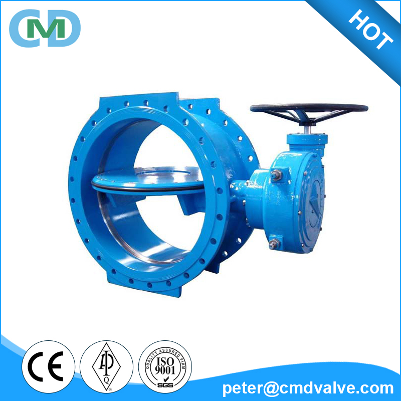 Worm Gear Drive Ductile Iron GGG50 DN200 PN10 Flange Double Eccentric Butterfly Valve