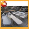 Outdoor stone and metal park piano bench with leg for garden furniture