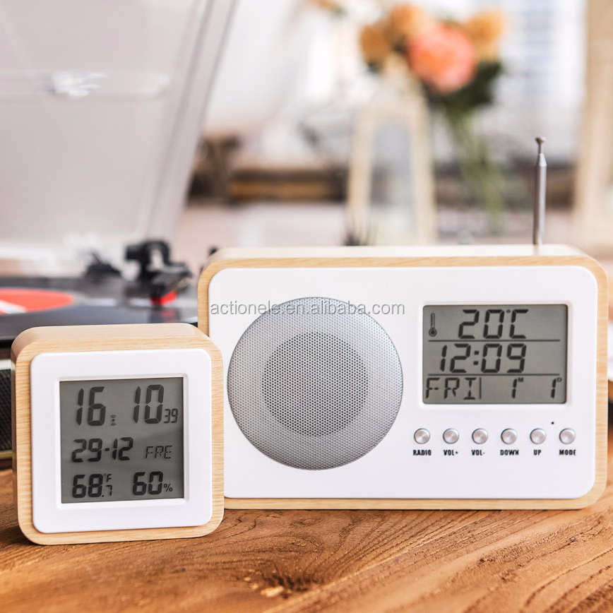 Digital Wood Frame FM Radio Alarm Clock Indoor Thermometer Table FM/AM Radio Clock