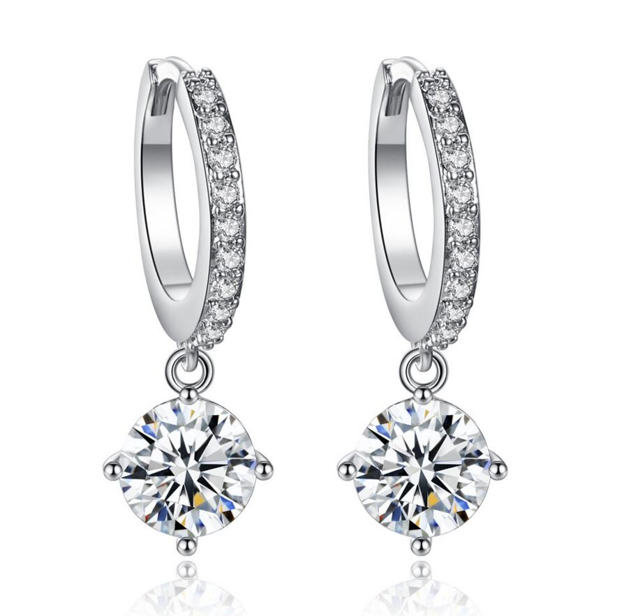 Circle CZ <strong>Earrings</strong> genuine zircon jewelry <strong>earrings</strong> for women