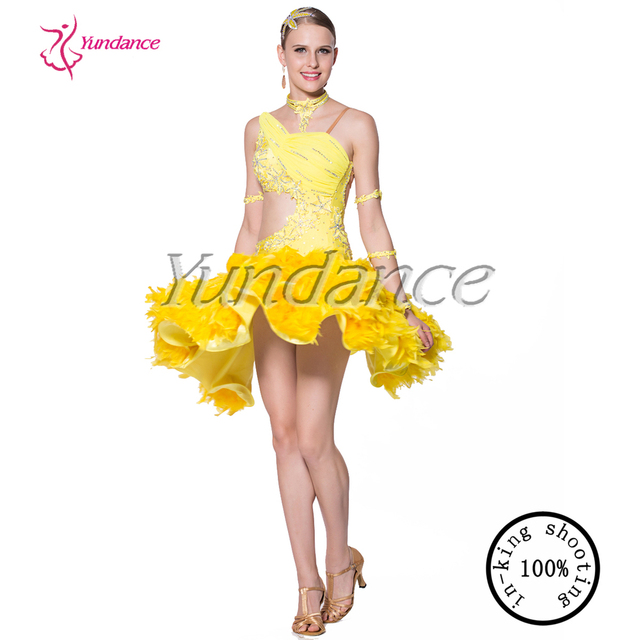 2015 Sexy Yellow dancing competition spanish costumes for women L-1033