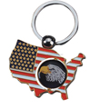 Wholesale Souvenirs USA Spinning Bald Eagle Keyrings Metal Promotional American National Map Flag Enamel Keyring