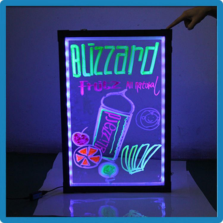 Hottest products flashing light up display board low price super-slim aluminium alloy frame neon dry erase marker board restaura