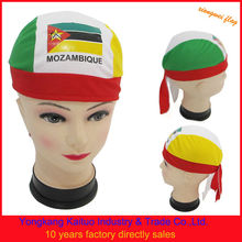 Mozambique national flag sports fans head bandana sports head tied scarf