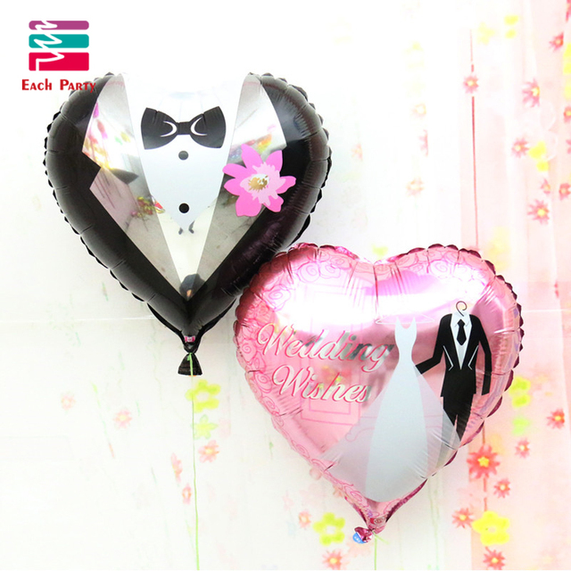18 inches Wedding Decorations Heart Bride Groom Aluminium Foil Balloons Wedding Party Celebration love Helium Balloons Supplies