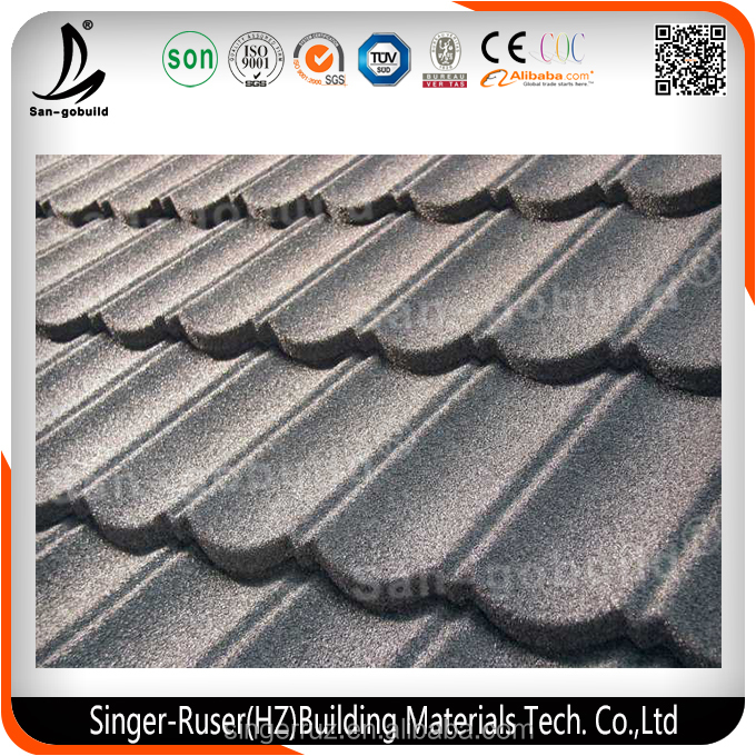 Low Cost Lightweight House Construction Material/ Sun Stone Chip Coated Metal Roof Tile