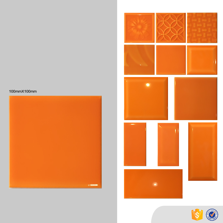Square wall orange color bathroom tiles, foshan glossy indoor ceramic tile 10 x 10
