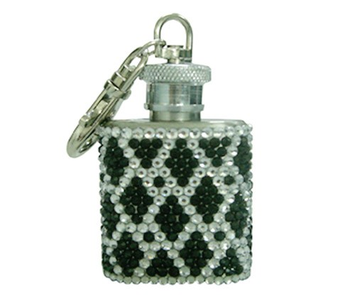 Rhinestone bling bling customized glass lined hip flask