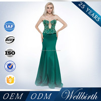 Factory Crystal Beaded And Sequin Backless Long Emerald Green Evening Dress For Women