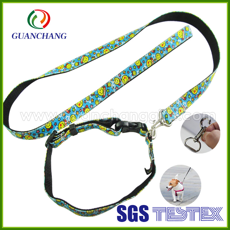 Custom dog accessories 2016 name brand printed dog harness soft nylon flexi retractable dog slip leash light pet products